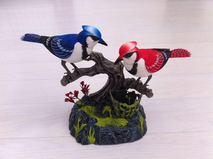 Beautiful real life-like fluttering singing LOVE BIRDS desk Stationary holder.