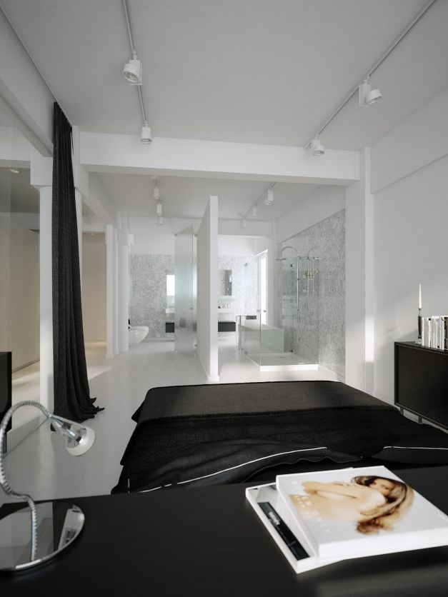 Black And White Lofts, Simplistic Yet Modern: Black White Bedroom Scheme Open Plan Bathroom