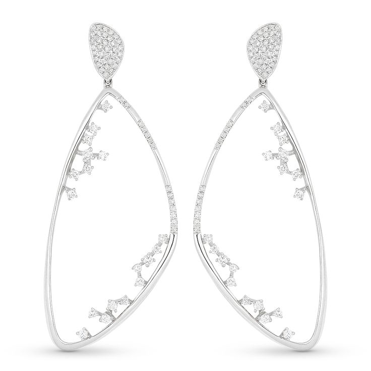 Drop Earrings w/ Round Cut Diamonds in 14k White Gold – AM-DE10661