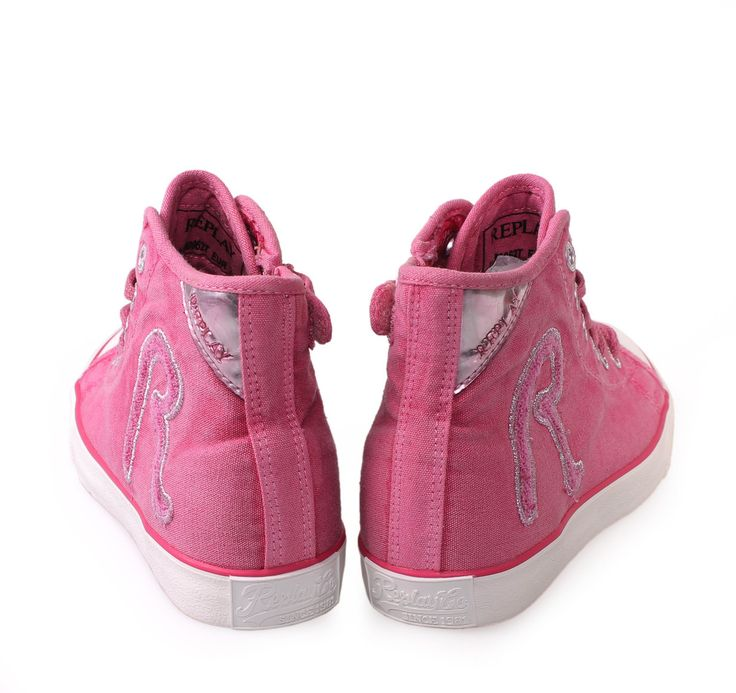 REPLAY Fuxia High-cut Sneakers with Laces for Girls. Παιδικά φούξια κοριτσίστικα υφασμάτινα παπούτσια