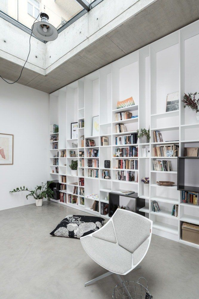 CONCRETE SCULPTURE STUDIO, Prague, 2013 - OOOOX #bookshelves #interiors #wood #white