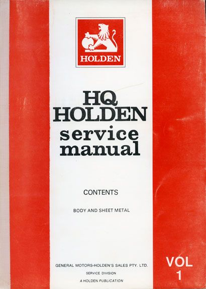 HQ Holden Service Manual - Volume 1