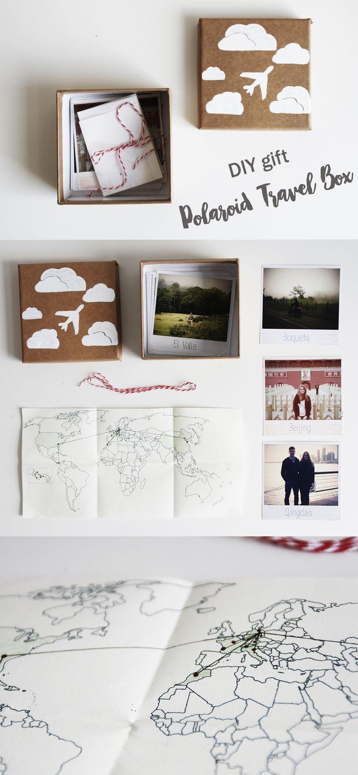 DIY Geschenk Polaroid Reise Kiste   Do it yourself gift idea travel box   Weltkarte   Geschenkidee   Valentinstag   Valentines Day   Partner   Liebe   Foto   Vintage   Verreisen   Geschenke basteln   travel journal   crafting   photo   Anleitung   Tutorial