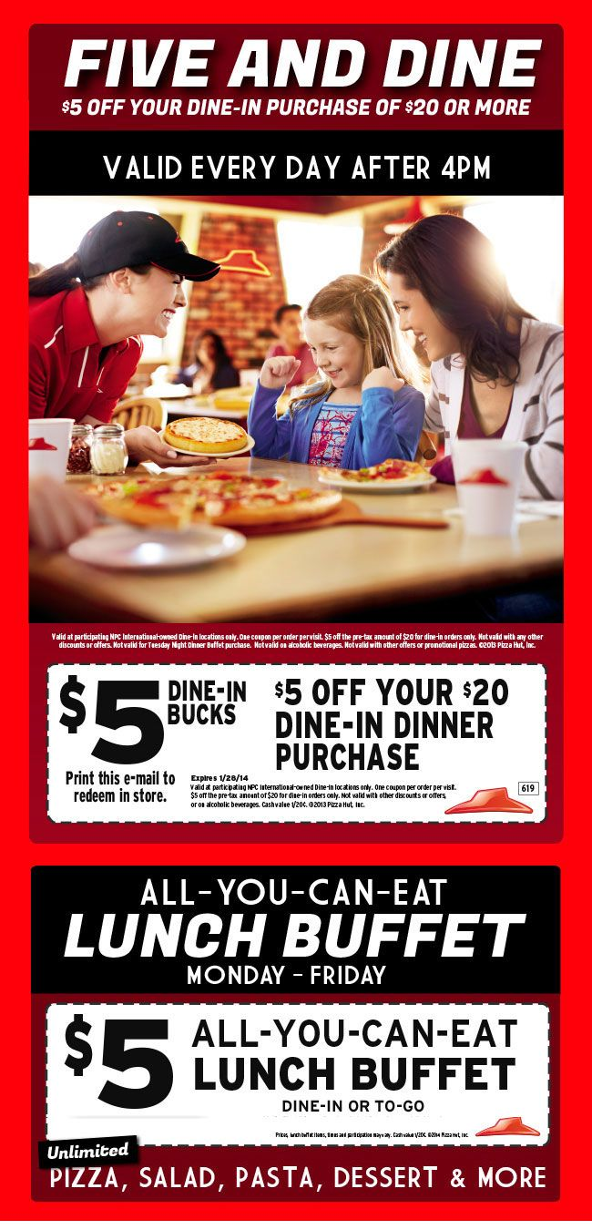 Pinned January 15th: $5 off $20 and more at Pizza #Hut #coupon via The Coupons App
