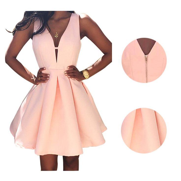 Nuevos vestidos de las mujeres de moda de verano casual dress v-cuello sin mangas de color rosa vestidos de noche del partido vestido de festa brasil tendencia