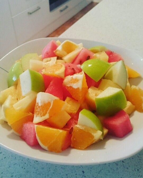 Lunch - melon, orange, apple, pineapple.
