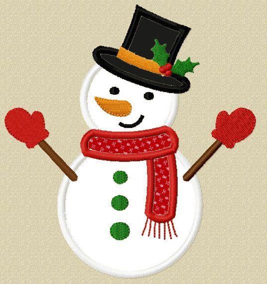 Instant Download Christmas Snowman Applique Machine Embroidery Design NO:1246 on Etsy, $2.99