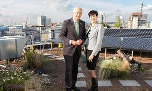 Broadcaster Jon Snow and Crown Estate Chief Executive, Alison Nimmo, on the roof of 7 Air Street