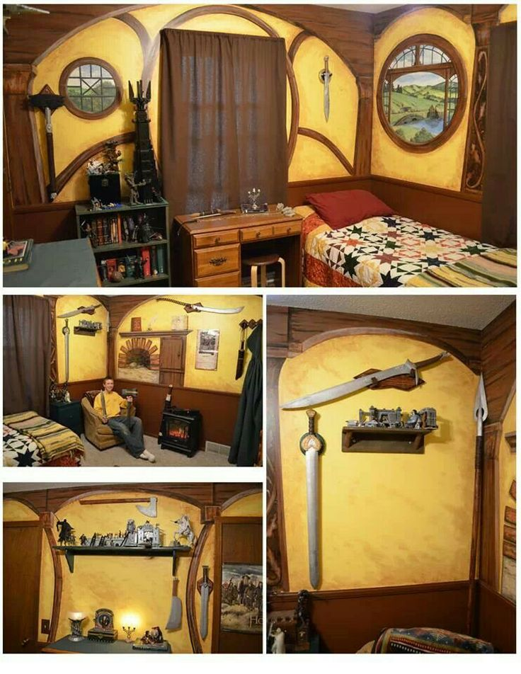 Hobbit house room decor lotr hobbit pinterest hobbit for Hobbit house furniture