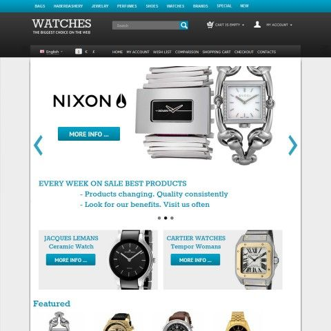 CS-Cart 3 Responsive Template cs300053 is specially designed for watch`s Shop. Selling mechanical and electronic watch brand Tissot, Rolex, Seiko, Casio, Diesel, DKNY, Nixon, Omega, Swatch, Rotary, Breitling, Accurist.