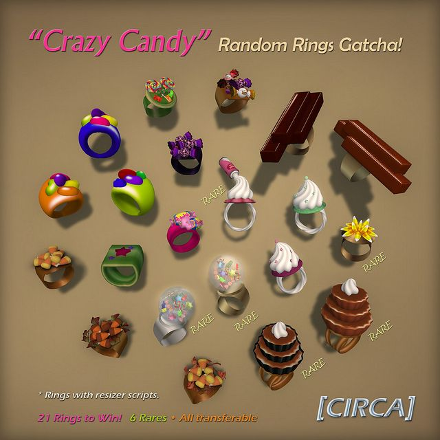 "[CIRCA] - ""Crazy Candy"" - Random Rings Gatcha http://maps.secondlife.com/secondlife/Sugar%20Valley/80/181/21"