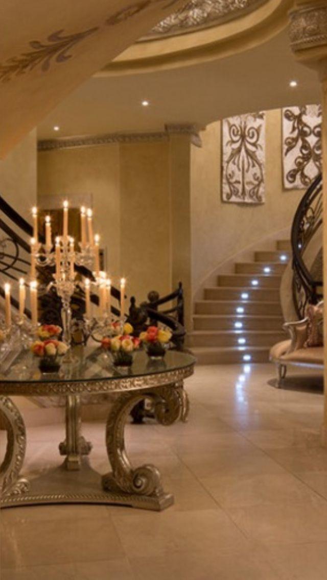 Luxury foyer entrance i love the led lights under each for Living room 640x1136