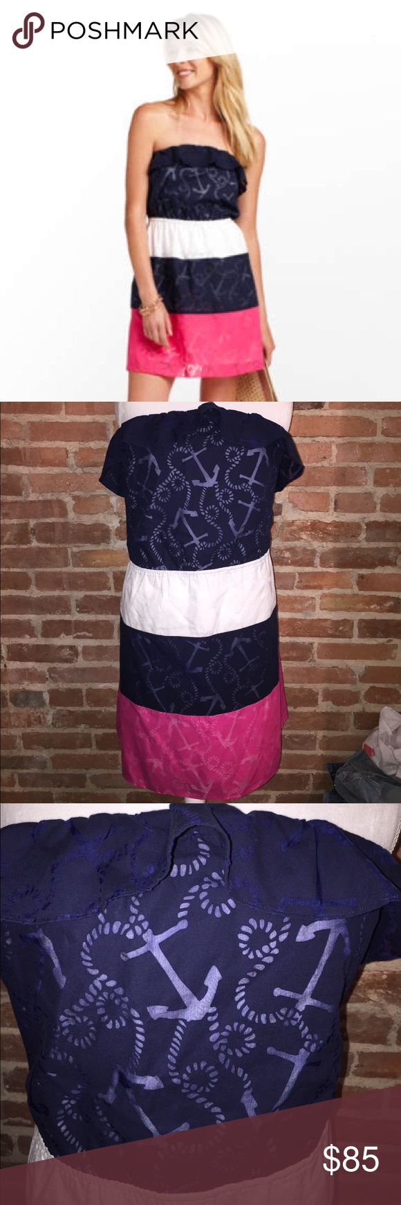 Lilly Pulitzer Libby Anchor Dress Sz XL EUC Lilly Pulitzer Libby Anchor dress size XL. Fully lined excellent condition Lilly Pulitzer Dresses Midi