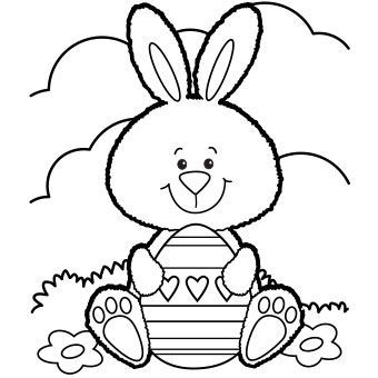 This actually prints in full-size! Happy Bunny with Egg, - Free-N-Fun Easter from Oriental Trading