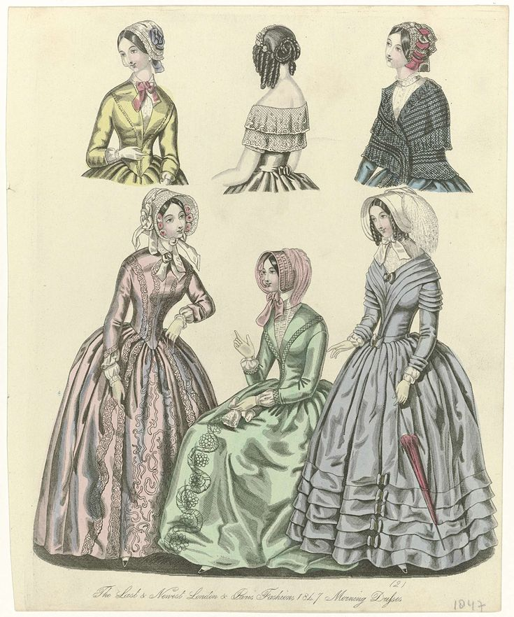 The World of Fashion, 1847 - The last & newest London & Paris fashions - Morning dresses