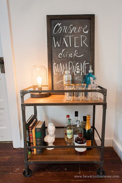 Bar Cart, Chalkboard + Edison Lamp by @worldmarket | design by Brooklyn Limestone |Modern Rustic Living Room Makeover |  Conserve Water, Drink Champagne | Bar Cart Styling