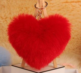 Red pom-pom szőrme kulcstartó és táskadísz