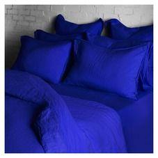 Housse de couette en lin bleu de travail - 200 x 200 cm