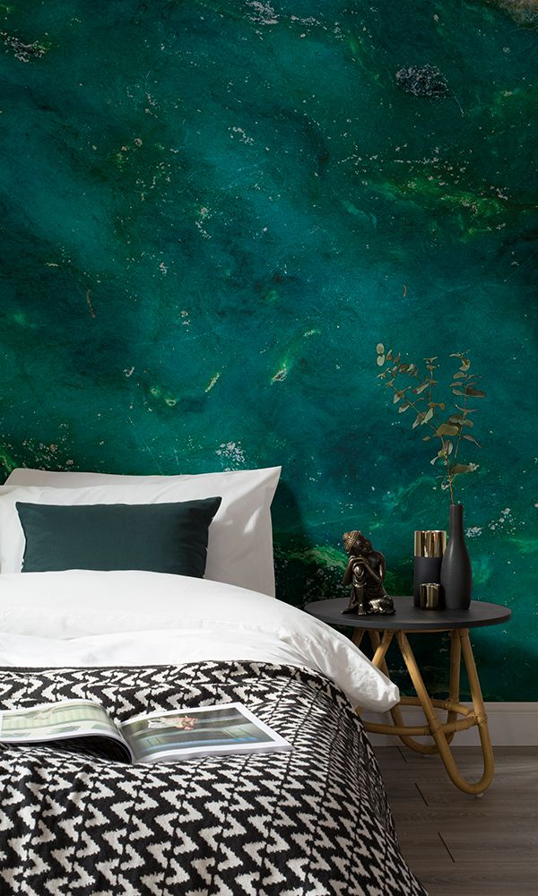 Falling in love with deep emerald tones mixed with gold accents. This jade wallpaper design brings a truly decadent feel to your bedroom spaces.
