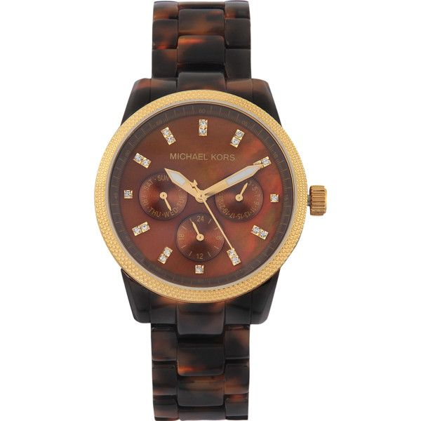 Michael Kors Ritz MK5038 watch ($185) ❤ liked on Polyvore featuring jewelry, watches, accessories, bracelets, michael kors, brown jewelry, brown watches, tortoise shell bracelet, tortoise shell jewelry and tortoise shell watches