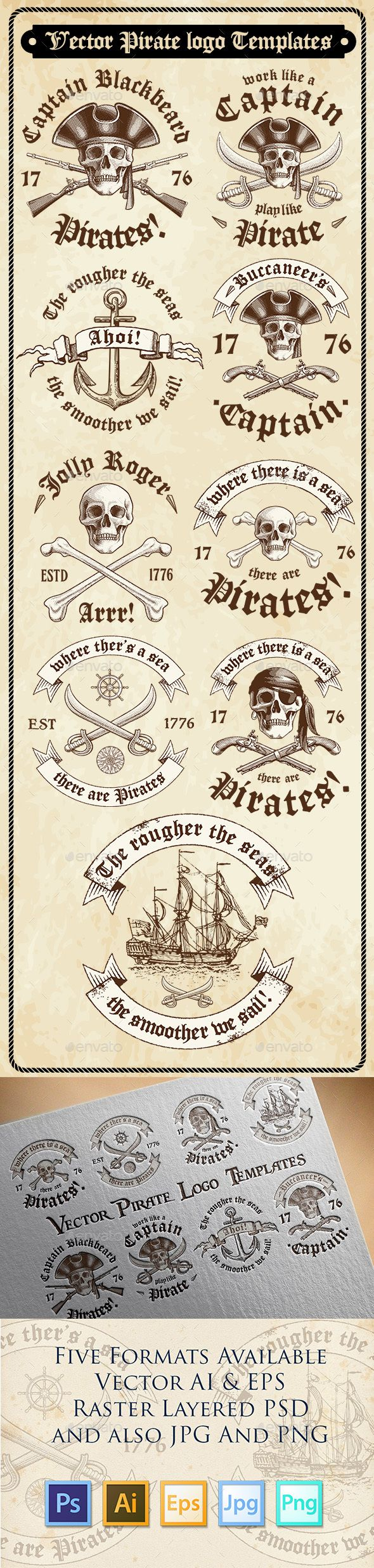Vector Pirate Logo Templates PSD, Transparent PNG, Vector EPS, AI Illustrator