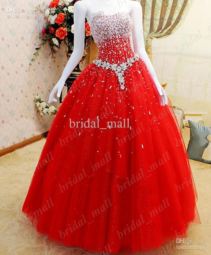 Wholesale Prom Dresses - Buy Bright Red Sparkling Puffy Ball Gown ...