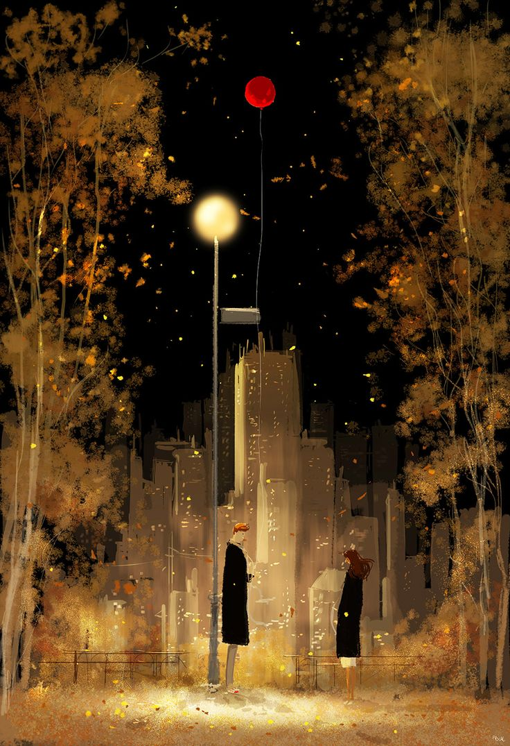 Here we go again. #pascalcampionart   _Here we are again! _Yup. _ In a park, in fall.... not very original, you know? _I know, BUT, this time I brought a red balloon. _Nice touch. _I thought so.. _Funny. _Does it get me points for originality? _Hmmm...maybe..? _Does it get me enough points for a kiss? _hmmm.....