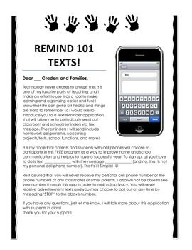 This parent letter explains the importance of using the Remind 101 App. It has blanks for teachers to fill in their own numbers and information.