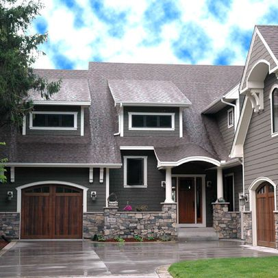 Light Gray Shingles Dark Walls White Trim And Stone