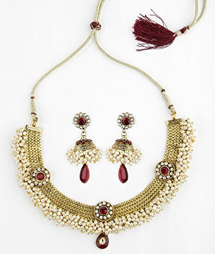 Bridesmaid Gold Plated Neckless Set Embossed With Pearls and Maroon Stones Bridesmaid http://www.amazon.in/dp/B018ZIF4UE/ref=cm_sw_r_pi_dp_CVxCwb0D1ASNY