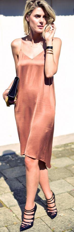 Rust Silk Slip Dress by Fashionata