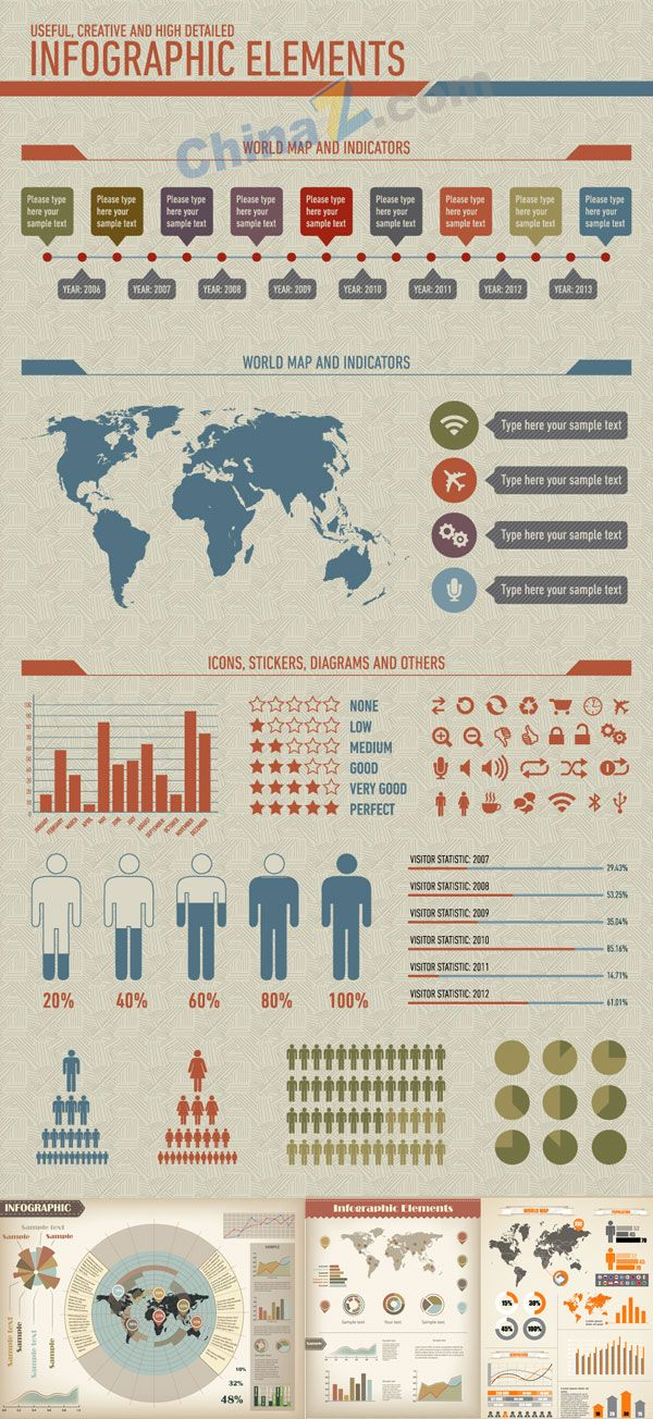 Population statistics charts vector material 9 best