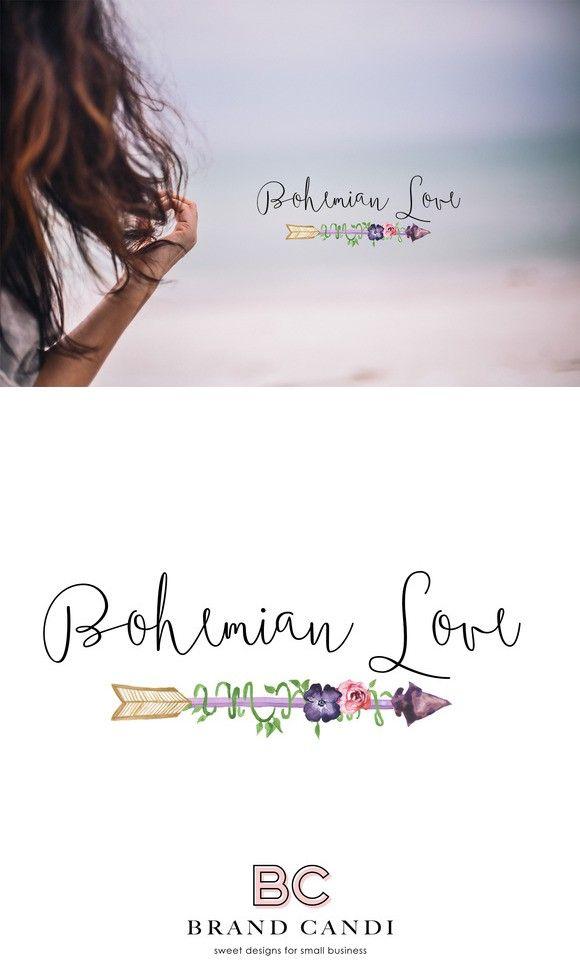 Bohemian Arrow Logo. Script Fonts. $15.00