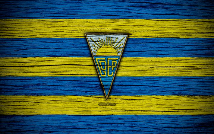 Download wallpapers Estoril, 4k, Portugal, Primeira Liga, soccer, wooden texture, Estoril FC, football club, logo, FC Estoril