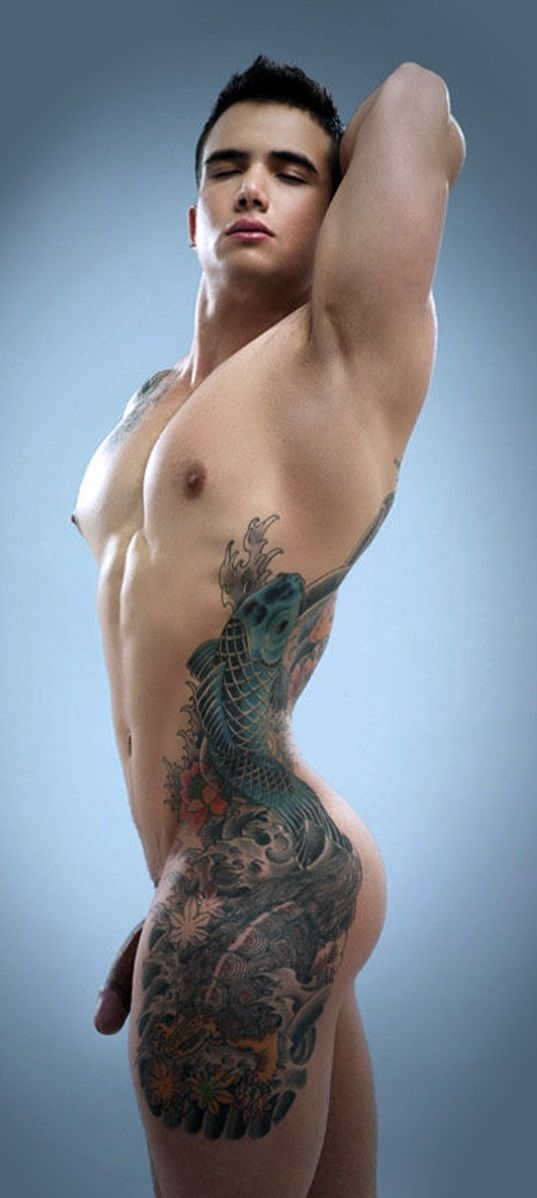 Nude people with tattoos