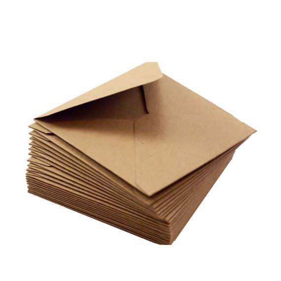 10 kraft brown mini square envelopes! Great for gift enclosure, packaging, and little love notes too!