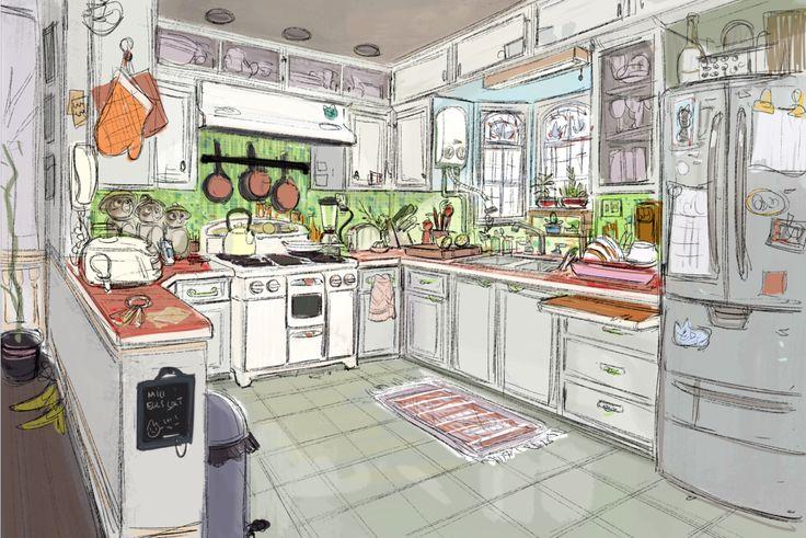 ヒロの家(おばさんキャス」レベル)とカフェの2番目のレベルのためのコンセプトアート。