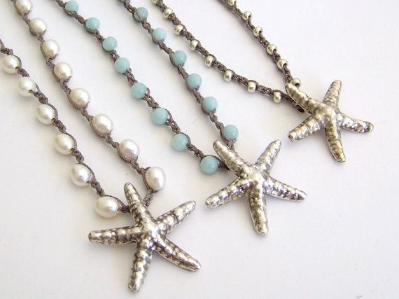 Beach Jewelry Starfish Necklace - Freshwater Pearls, Amazonite, Silver Beads, Sterling Silver Starfish Pendant,  - Boho Beach Cottage Chic on Etsy, $62.95