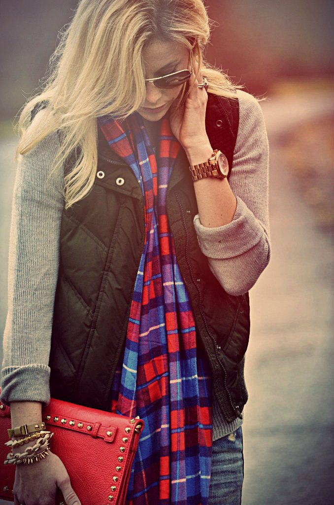 This Is My Fall Uniform: Jeans, Sweater, Scarf, Vest. plaid fall fashion.