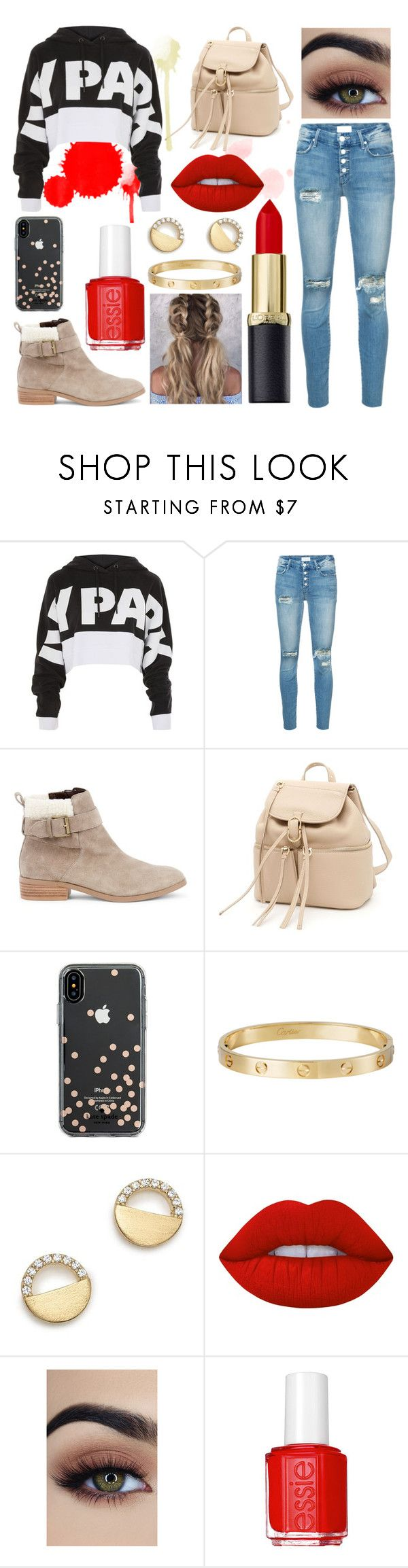 """Outfit #39"" by sarah-gryffindor ❤ liked on Polyvore featuring Topshop, Mother, Sole Society, Salvatore Ferragamo, Kate Spade, Cartier, Bloomingdale's, Lime Crime, Essie and red"