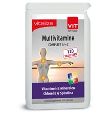 Vitalize Multivitamine 120 tabletten  Multivitamine Inhoud: 120 tabletten Gebruik: 1 tablet per dag BESCHRIJVING VAN DE STOFFEN Vitamine A draagt onder andere bij: - aan de normale werking van het hart - tot de instandhouding van normale slijmvliezen huid gezichtsvermogen en het immuunsysteem. Vitamine B1 draagt onder andere bij tot: - de normale werking van het hart en het zenuwstelsel - een normale psychologische functie. Vitamine B2 draagt onder andere bij tot: - de normale werking van…