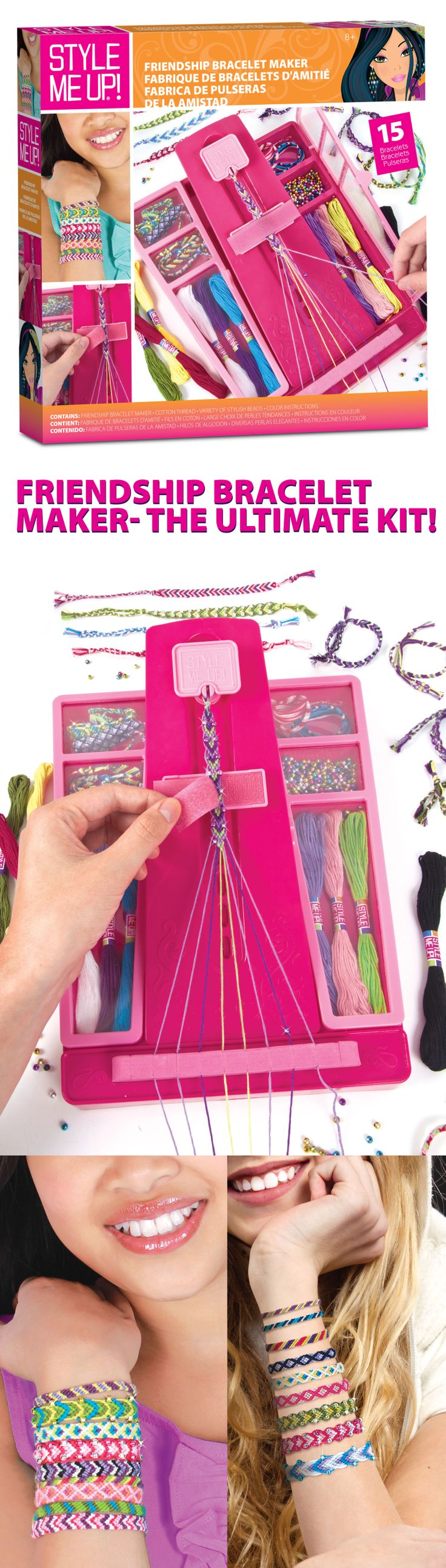 With this ultimate kit you can easily create friendship bracelets for all your BFFs! The friendship bracelet maker can also store all your beads and threads.