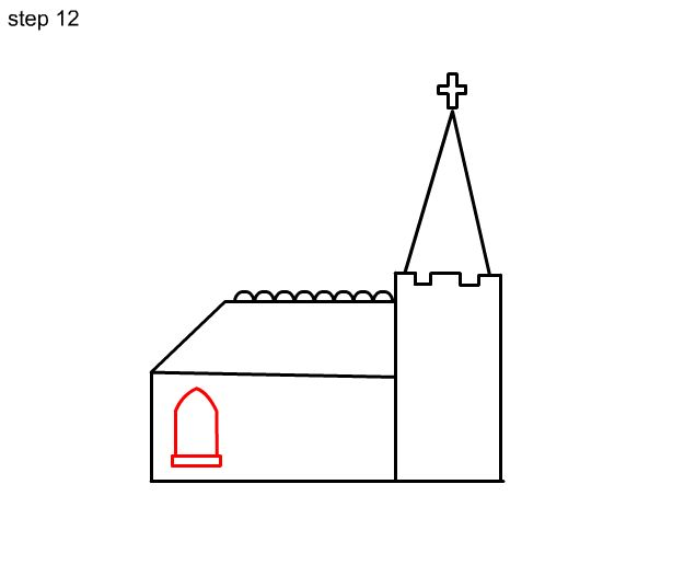 how to draw an easy church