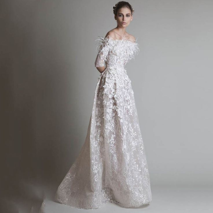 Evening Gowns Off Shoulder Hand Made Flowers Feathers Lace Half Sleeve Ivory Floor Length Evening Dresses 2015 Krikor Jabotian-in Evening Dresses from Weddings & Events on Aliexpress.com | Alibaba Group