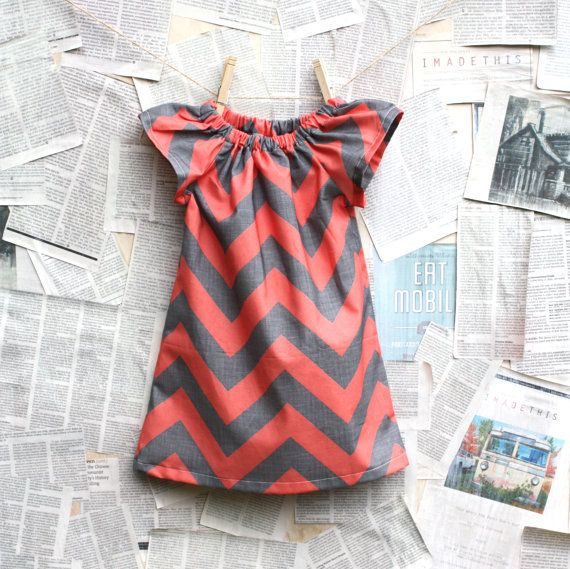 Coral and Gray Chevron Shift Dress // Customize Chevron Color // 6 months - 10 years. $39.00, via Etsy.  For a baby girl... So cute!