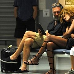 French actor Vincent Cassel displays public affection toward his girlfriend