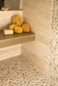 Master bath: pale pebble tile shower floor, natural/ neutral shower wall tile - either stone or wood look - in similar, low-contrast color.