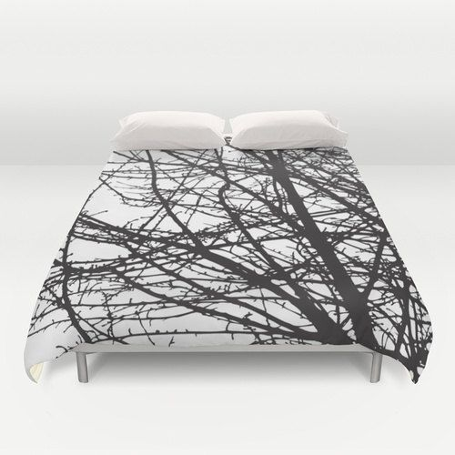 Black and White Tree Branches Modern Duvet Cover.   Soft microfiber duvet cover. Light cream reverse side.  Hidden zipper.    Machine washable with