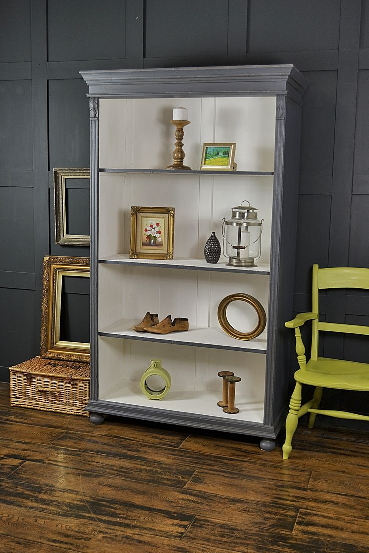 This antique pine bookcase from Holland, has been painted in Valspar Carriage Wheel with a contrasting white inside. Lightly distressed and aged with dark wax, this piece is a fantastic storage solution for any living room. http://www.thetreasuretrove.co.uk/cabinets-and-storage/grey-and-white-shabby-chic-antique-pine-bookcase