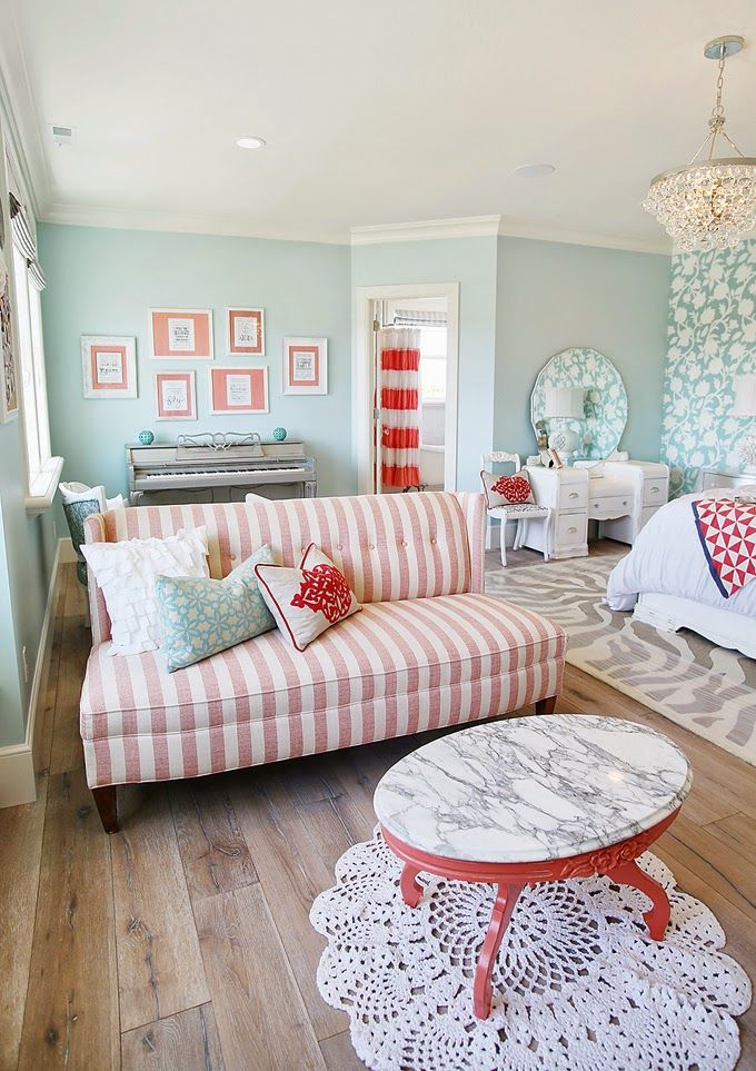 coral + aqua bedroom sitting area